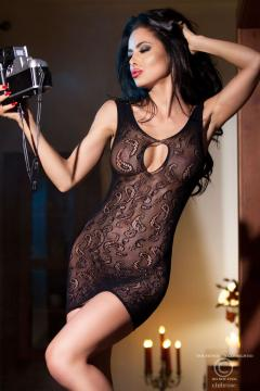 CHILIROSE: Black seamless minidress with lace designs.